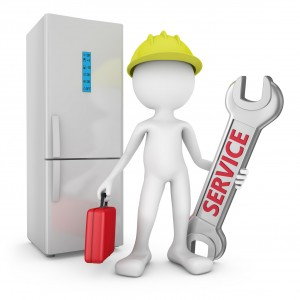 man with wrench and a red suitcase on background refrigerator